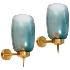 Pair of Blue Murano Glass Mid-Century Modern Sconces Attributed to Seguso