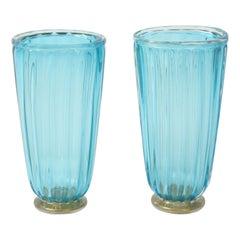 Pair of Blue Murano Glass Vases