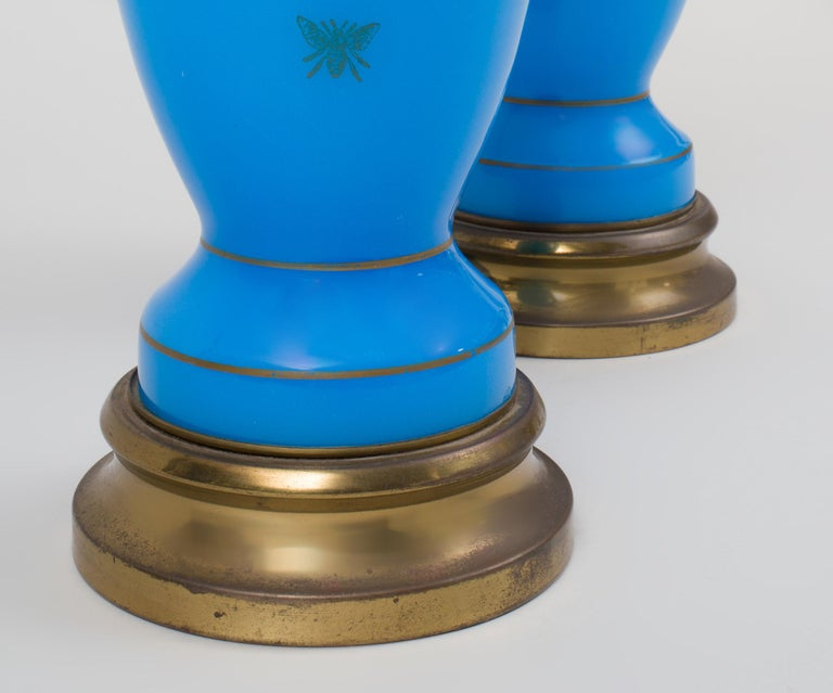 Neoclassical Pair of Blue Opaline Glass Lamps with Bee Decoration For Sale