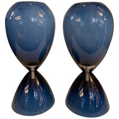 "Pair of Blue Overlay Blown ""Incamiciato"" Glass Murano Glass Table Lamps, 1950s"