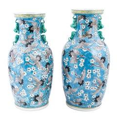 Pair of Blue Painted Crane Vases