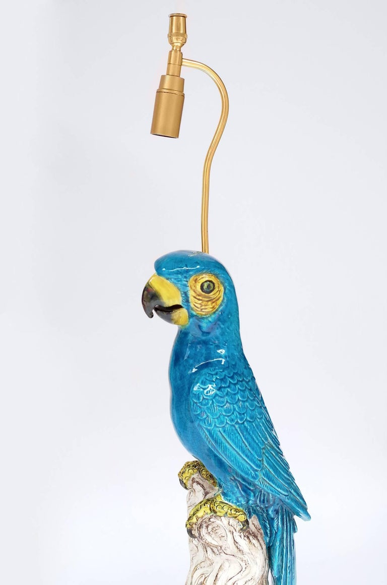 Late 20th Century Pair of Blue Parrots Lamps in Faience, circa 1970 For Sale