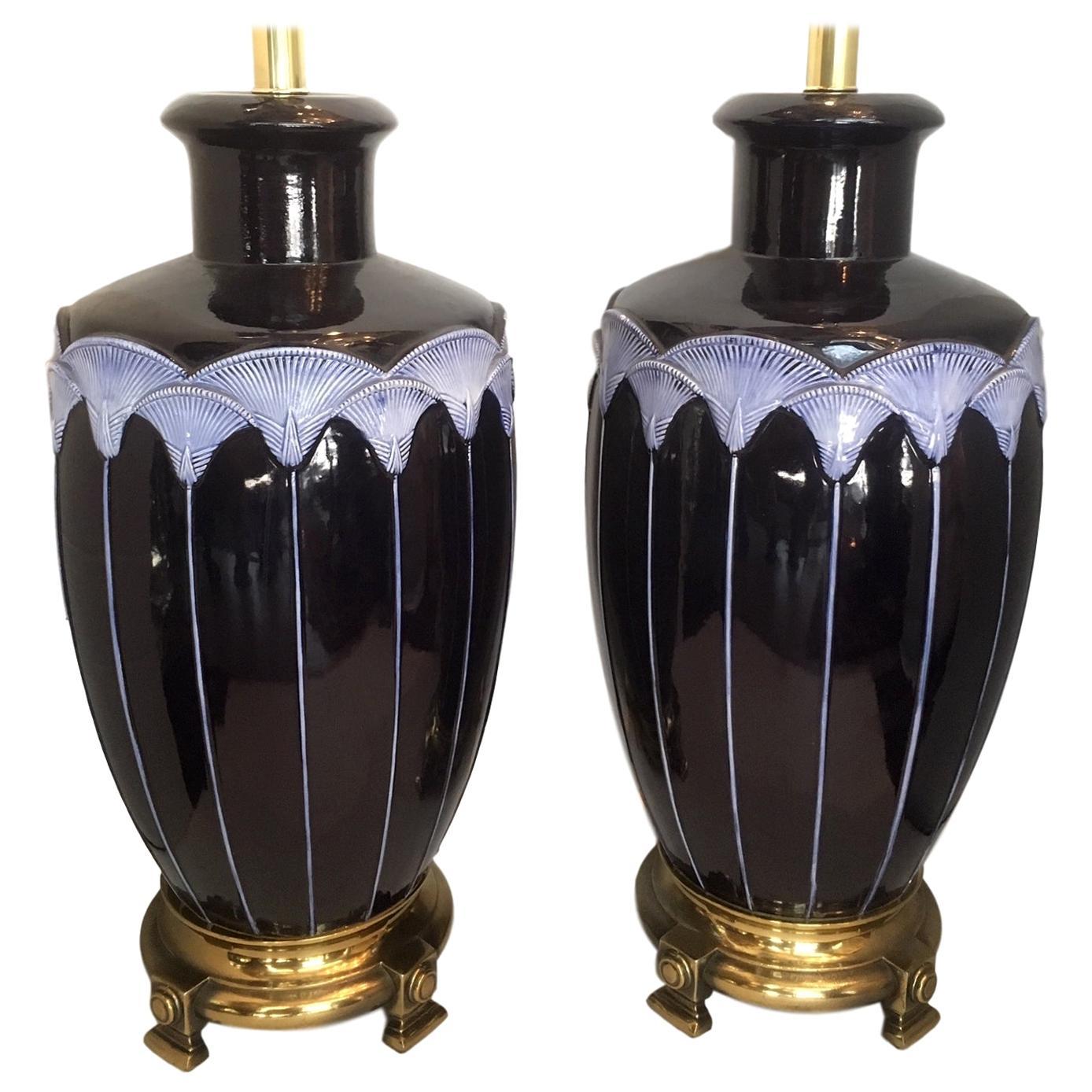 Pair of Blue Porcelain Lamps
