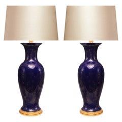 Blue Glazed Porcelain Lamps