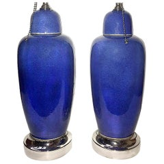 Pair of Blue Porcelain Table Lamps