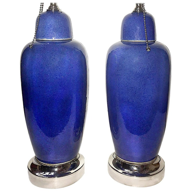 Pair of Blue Porcelain Table Lamps For Sale