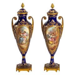 Pair of Blue Porcelain Vase