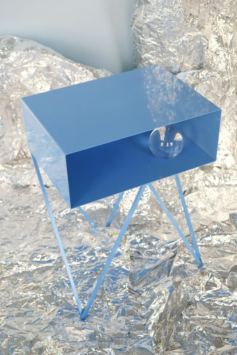Pair of Blue Powder Coated Steel Robot Bedside Tables Side Table In New Condition For Sale In Leicester, GB