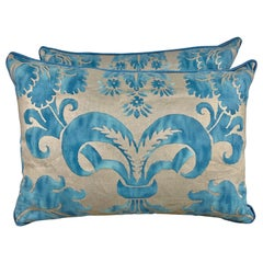 Pair of Blue and Silver Glicine Patterned Fortuny Pillows