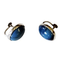 Pair of Blue Stone Silver Earrings by Asp AB, Sweden, 1971
