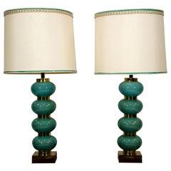 Pair of Blue Table Lamps, Original Shades