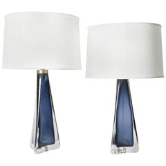 Pair of Blue Triangular Frosted Orrefors Lamps, Sweden, 1960