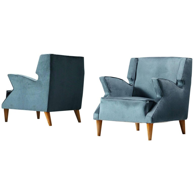 Pair of Blue Upholstered Italian Armchairs