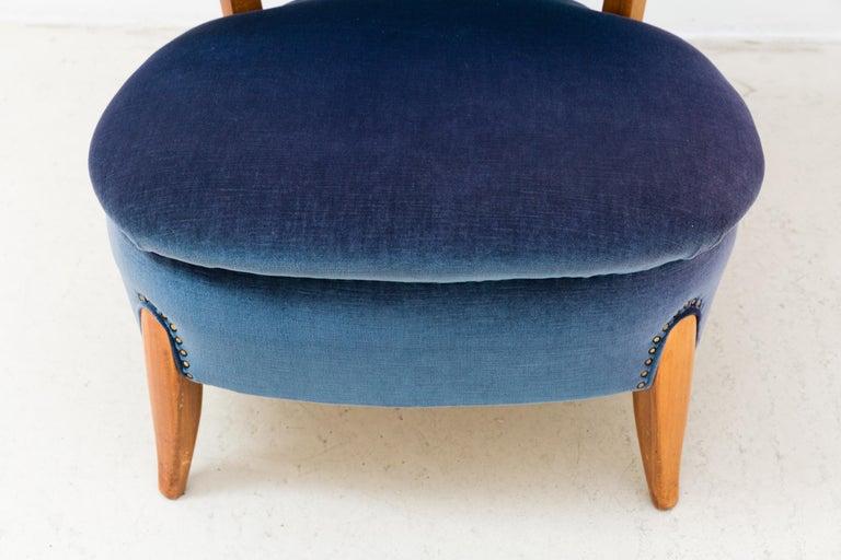 Paar von blauem Samt Sessel von Otto Schulz 7