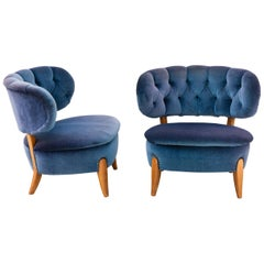 Pair of Blue Velvet Easy Chairs by Otto Schulz