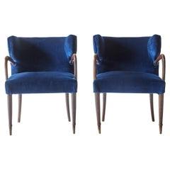 Pair of Blue Velvet Italian Art Deco Armchairs