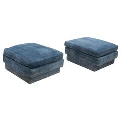 Pair of Large Blue Velvet Ottomans by Directional