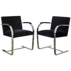 Pair of Blue Vintage Ludwig Mies van der Rohe Flat Bar Brno Chairs