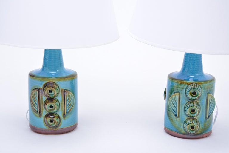 Mid-Century Modern Pair of Blue Vintage Stoneware Table Lamps Model 1203 by Søholm For Sale