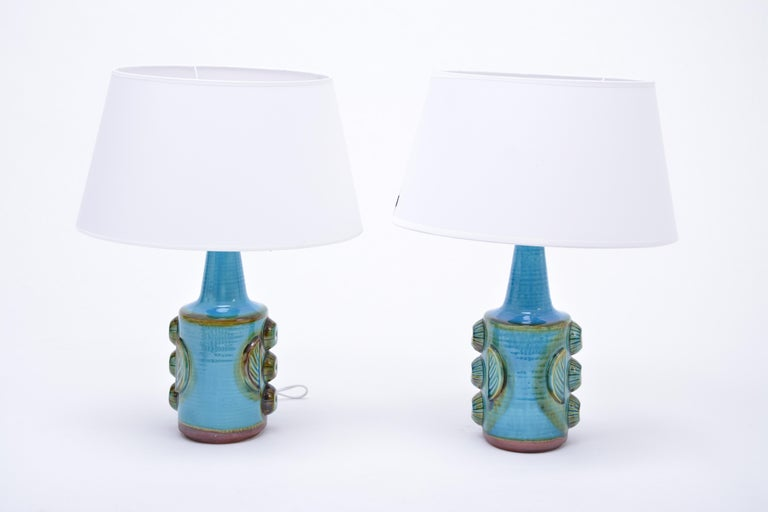 Danish Pair of Blue Vintage Stoneware Table Lamps Model 1203 by Søholm For Sale