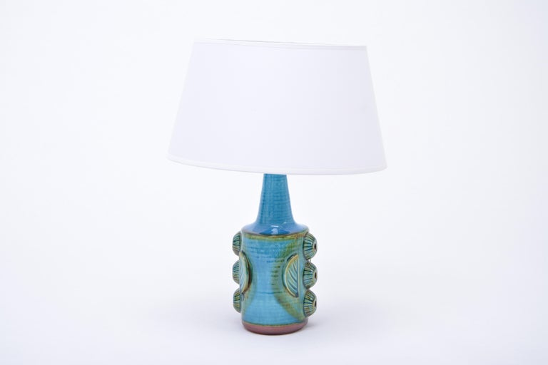 Glazed Pair of Blue Vintage Stoneware Table Lamps Model 1203 by Søholm For Sale