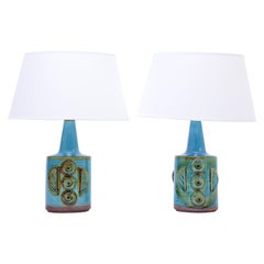 Pair of Blue Mid-Century Modern Stoneware table Lamps model 1203 by Søholm