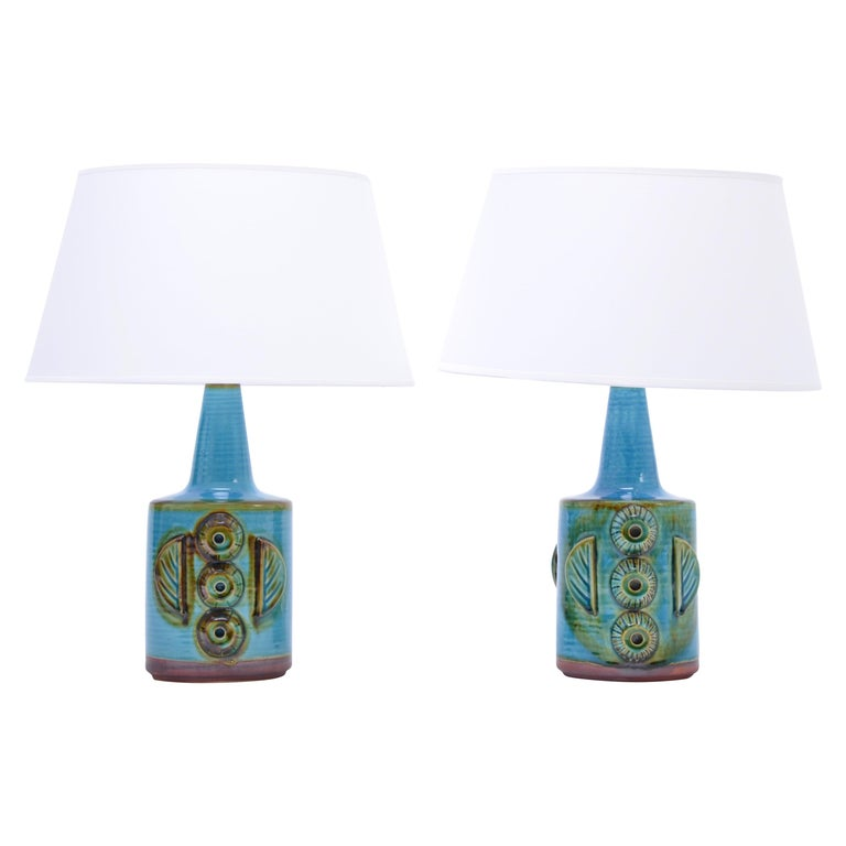 Pair of Blue Vintage Stoneware Table Lamps Model 1203 by Søholm For Sale