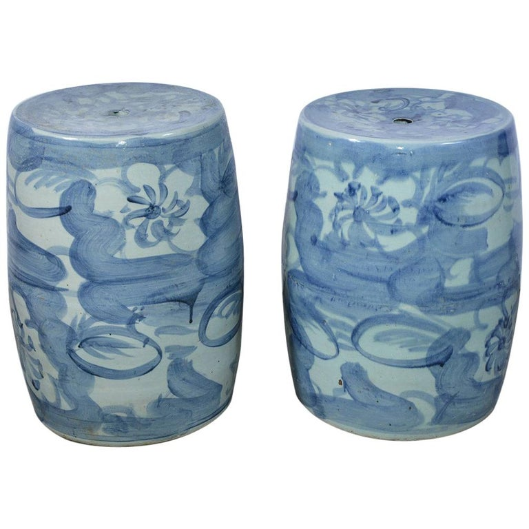 Pair of Blue White Chinese Garden Seats For Sale