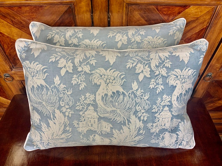 Pair of authentic blue & white Fortuny cotton pillows with contemporary white linen backs. Down filled inserts, sewn closed.