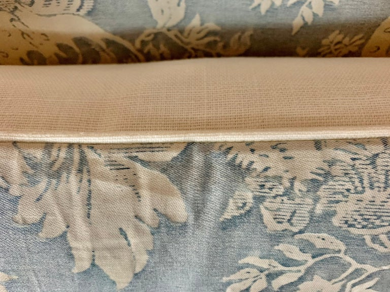 Italian Pair of Blue & White Chinoiserie Style Fortuny Pillows For Sale
