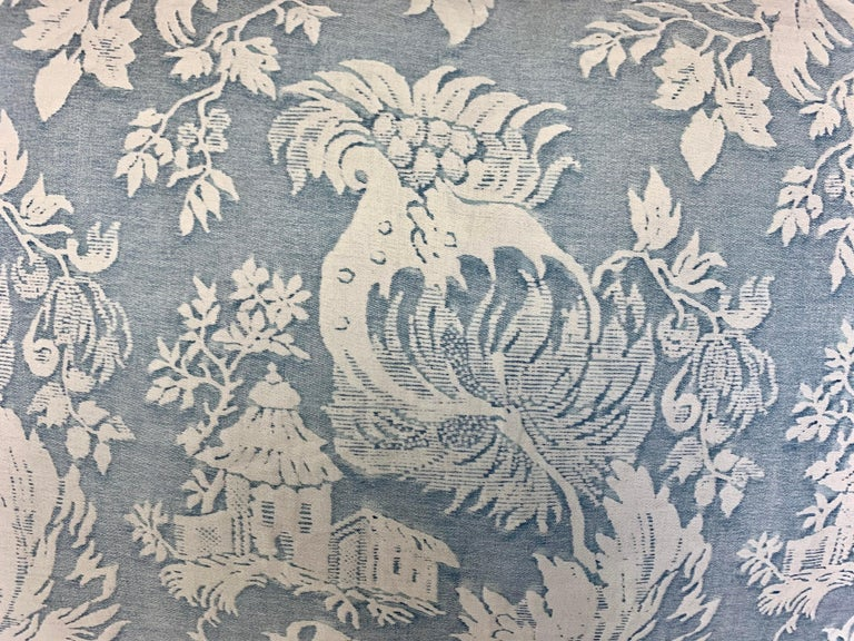 20th Century Pair of Blue & White Chinoiserie Style Fortuny Pillows For Sale