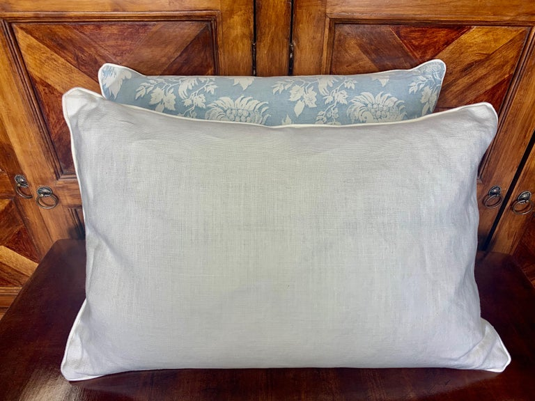Cotton Pair of Blue & White Chinoiserie Style Fortuny Pillows For Sale