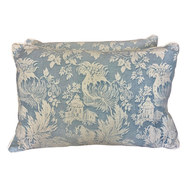 Pair of Blue & White Chinoiserie Style Fortuny Pillows For Sale