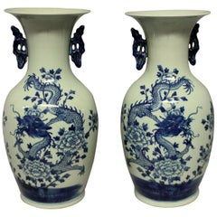 Pair of Blue & White Twin Handled Chinese Vases