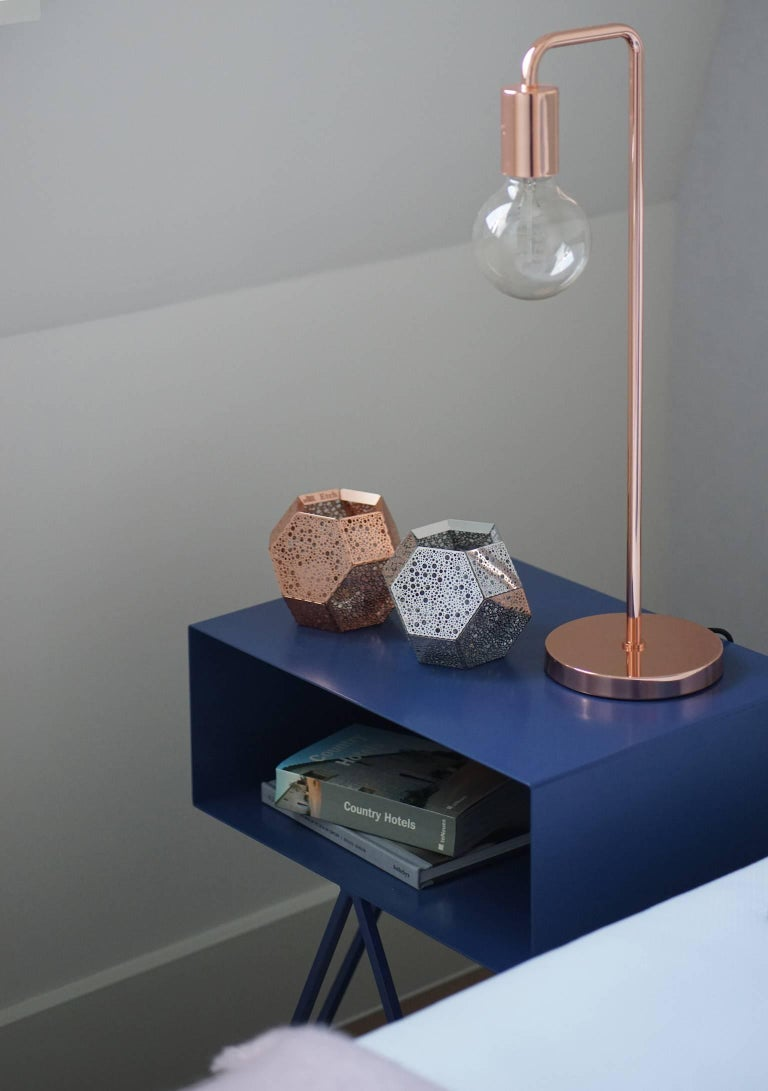 Powder-Coated Pair of Blueberry Powder Coated Steel Robot Bedside Tables For Sale