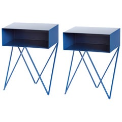 Pair of Blueberry Powder Coated Steel Robot Bedside Tables