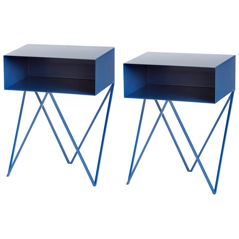 Pair of Blueberry Powder Coated Steel Robot Bedside Tables For Sale
