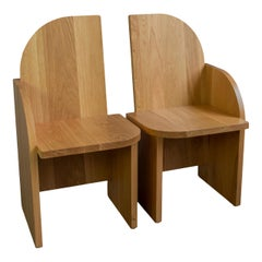 Pair of Bluff Side Chairs from Souda, Customizable, Oak, Floor Models