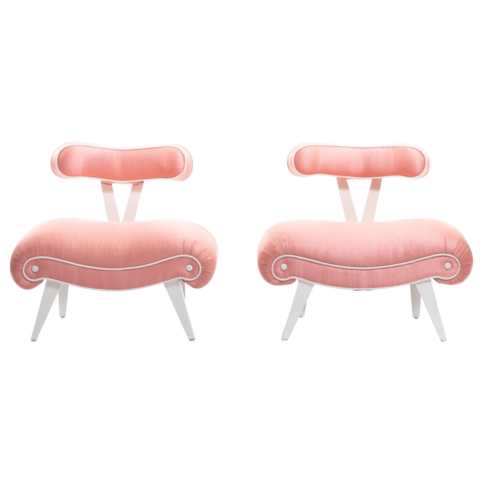Pair of Blush Pink Peach Grosfeld House Slipper Chairs, circa 1940s
