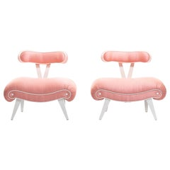 Pair of Blush Pink Peach Grosfeld House Slipper Chairs, circa 1940s