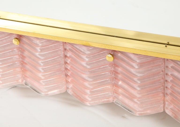 Pair of Rectangular Blush Pink Textured Murano Glass and Brass Mirrors, Italy 8