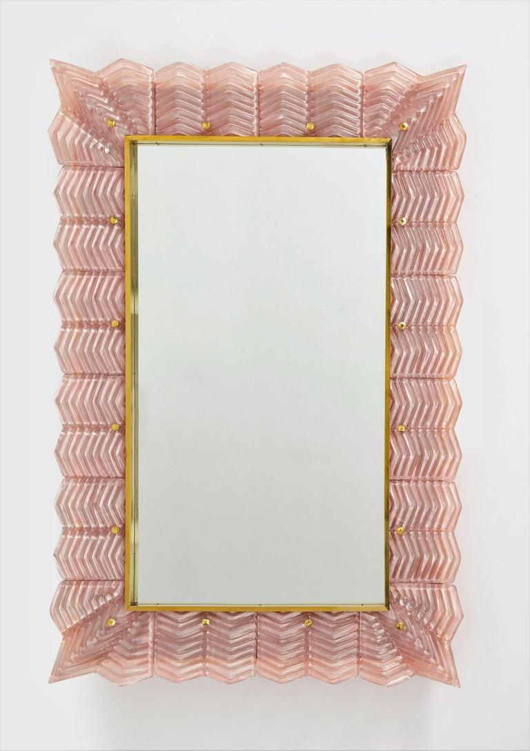 Italian Pair of Rectangular Blush Pink Textured Murano Glass and Brass Mirrors, Italy