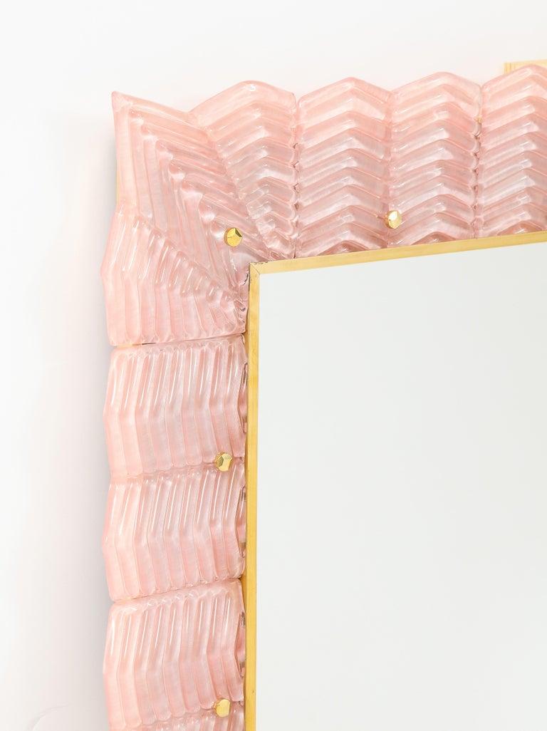 Contemporary Pair of Rectangular Blush Pink Textured Murano Glass and Brass Mirrors, Italy
