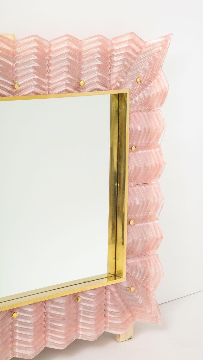 Pair of Rectangular Blush Pink Textured Murano Glass and Brass Mirrors, Italy 1
