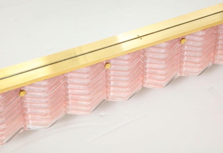 Pair of Rectangular Blush Pink Textured Murano Glass and Brass Mirrors, Italy 2
