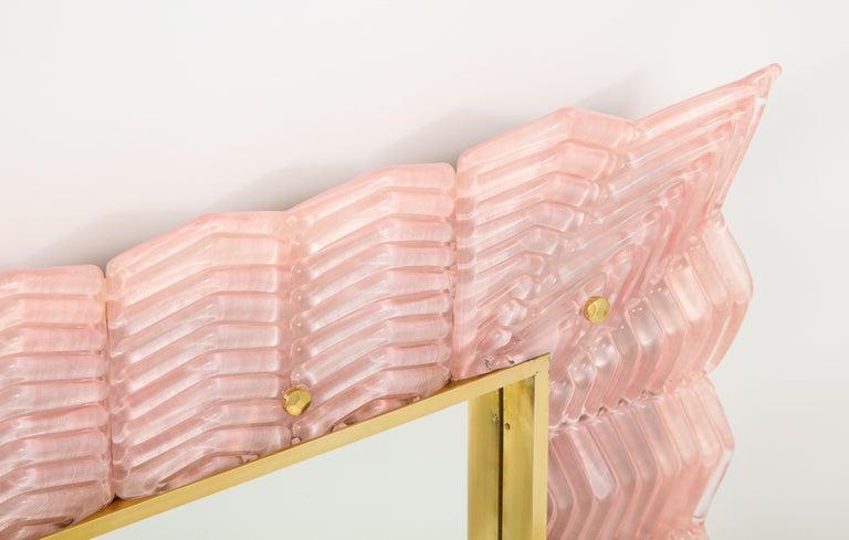 Pair of Rectangular Blush Pink Textured Murano Glass and Brass Mirrors, Italy 3