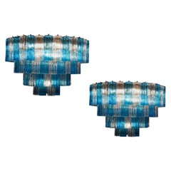 Pair of BluTurquoise and Ice Color Murano Glass Tronchi Chandelier Ceiling Light