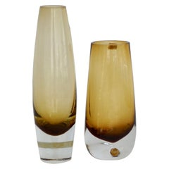 Pair of Bo Borgstrom for Aseda Amber Glass Vases
