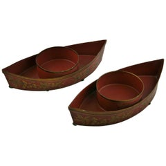 Pair of Boat Shaped Candleholders