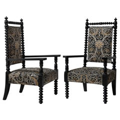 Pair of Bobbin Armchairs in Linen Blend by William Morris